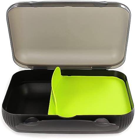 TUPPERWARE To Go Lunch-Box schwarz limette mit Trennung Brotbox Sandwich Dose