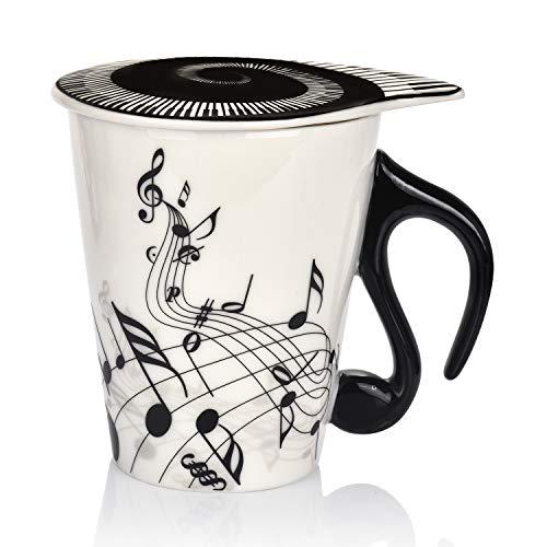 Keramiktasse mit Deckel, Musiknoten-Motiv, 365 ml, Schwarz