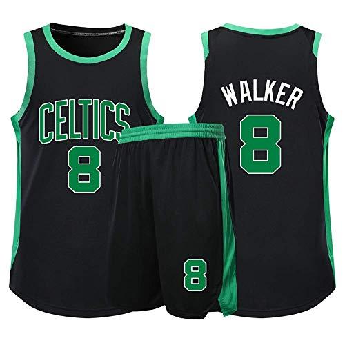 XSJY Jerseys Conjunto De Baloncesto De Los Hombres - NBA Boston Celtics # 8 Kemba Walker Adultos Unisex Niños Transpirable Baloncesto Ropa Deportiva Set,Negro,4XS:100~120CM