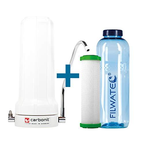 filwatec Carbonit SanUno Classic I Auftischfilter NFP Premium-9 Filterpatrone I Wasserfilter I Aktivkohlefilter Wasseraufbereitung I Trinkflasche