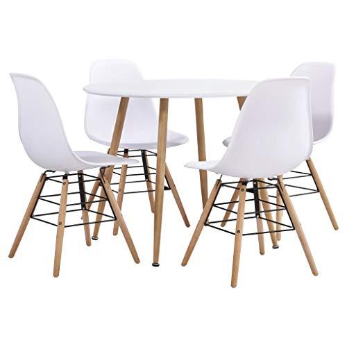 vidaXL Essgruppe 5-TLG. Esszimmergarnitur Esszimmergruppe Tischset Küchentisch Sitzgruppe Esszimmertisch Esstisch mit 4 Stühlen Kunststoff Weiß