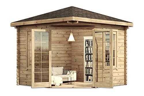 *Alpholz Modernes 5-Eck Holz Gartenhaus Victor mit Boden, 44 mm Wandstärke (300 x 300 cm)*