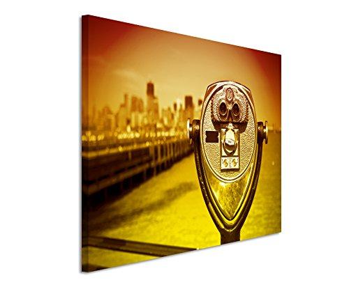 120x80 cm muurschildering - kleur oranje geel - canvasfoto op spieraam in de beste kwaliteit - verrekijker voor Liberty City Manhattan