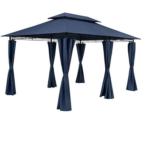Casaria Pavillon Topas 3x4m Wasserabweisend Metall Garten Stabil Robust Seitenwände Gartenpavillon Luxus Zelt Blau