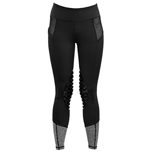 HR Farm Women's Silicone Tights Horse Riding Gel Grip Pull On Leggings with Pocket UPF50+ (Black, Small)