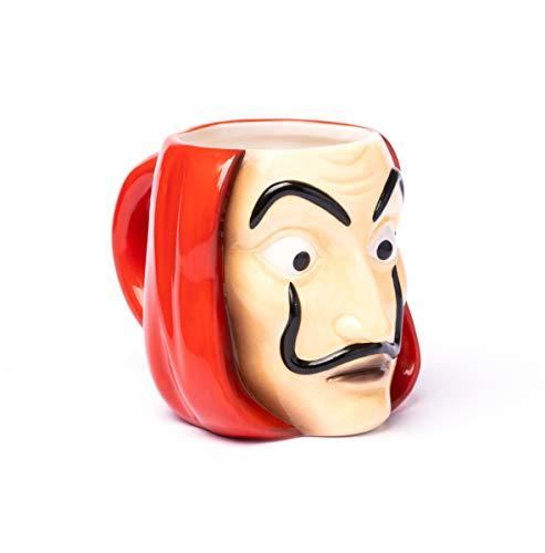 Grupo Erik TAZ3D001 Taza de Desayuno Máscara La Casa de Papel, Producto Oficial Netflix, Cerámica, Roja 3D