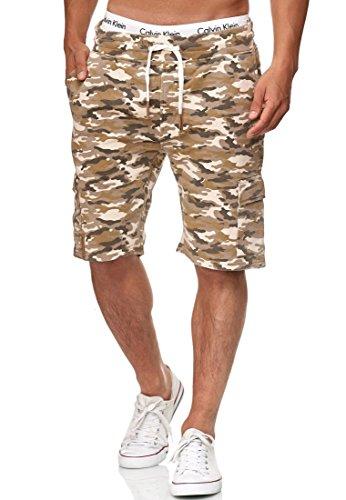 Indicode Herren White Rock Cargo Sweatshorts m. 5 Taschen aus 100% Baumwolle | Kurze Hose Cargo Shorts Militär Camouflage Sporthose Army Freizeithose für Männer Sand L