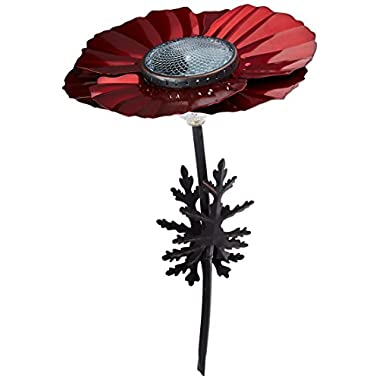 Desert Steel Poppy Flower Outdoor 20 Lumen LED Solar Garden Light & Pathway Lamp - (18  H x 11.5  W) Red