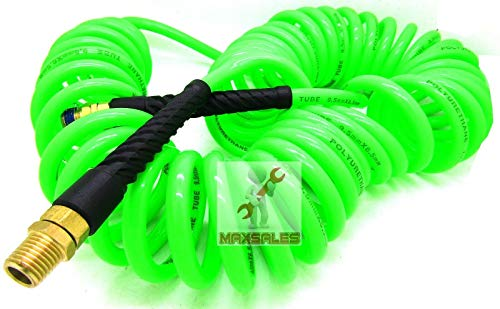 """1/4"""" x 30ft POLYURETHANE RECOIL AIR HOSE male SWIVEL Fittings"""