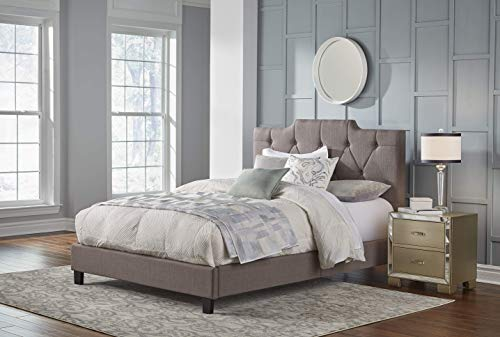 "Pulaski Low Profile Tufted Upholstered Bed Frame, 65.75"" x 88.19"" x 68.5""/Queen, Taupe Grey -  Home Meridian International, DS-2144-290"