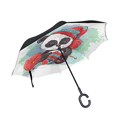 Lindo Panda De Lana De Dibujos Animados Paraguas Invertido Doble Capa Inverso Reverso con Mango en Forma de C Paraguas de Plegado para Automóviles en Exteriores