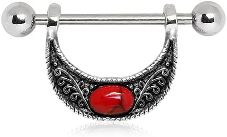 WildKlass Jewelry Nipple Ring with Red Turquoise Accented Crescent Moon 316L Stainless Steel