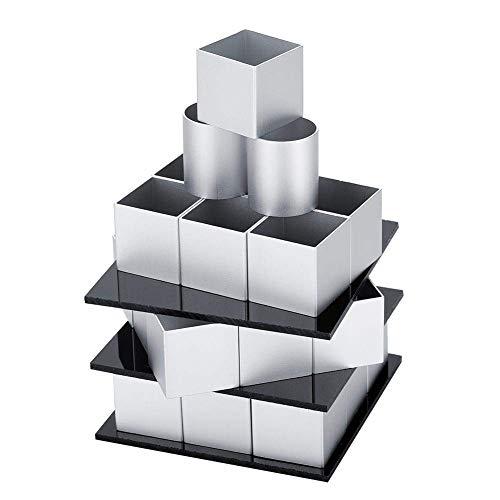N\C Molde de Pastel de Cubo de Metal 3D, Molde Giratorio de Tres Capas, Molde de Pastel, Molde de Pastel DIY, Molde de Pastel Cuadrado DIY