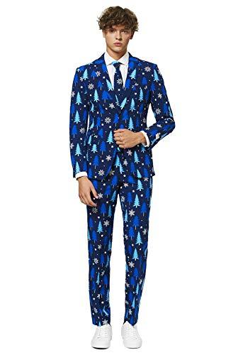 OppoSuits Herren Fun Ugly Christmas for Men – Winter Woods – Full Suit: Jacket, Pants & Tie Herrenanzug, blau, 52