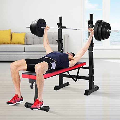 Sandinrayli Adjustable Weight Bench, Folding Bench Press w/ Barbell Rack, Full Body Workout Exercise Multi-Function Strength Training for Home Gym (Red)