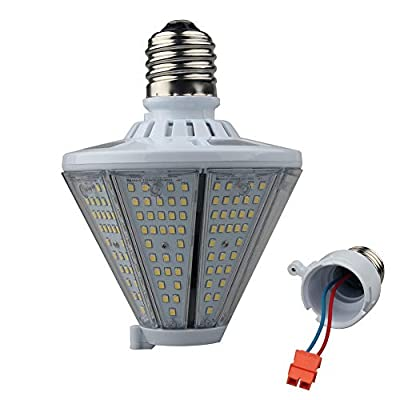 LED Corn Light Bulb, Post Top LED Light Bulb With Replaceable Lamp Base(Mogul E39+Medium E26), Retrofit LED for High Bay Warehouse Canopy Shop Mall