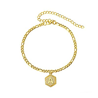 Initial Anklet Gold Ankle Bracelets for Women Figaro Chain Anklets Adjustable Letter Alphabet Foot Chain Anklet Cute Anklets for Teen Girls Summer Beach Jewelry Men Stainless Steel Anklet (Letter A)