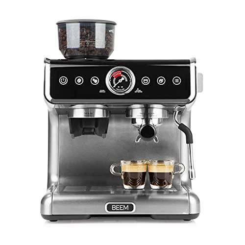 BEEM ESPRESSO-GRIND-PROFESSION Siebträgermaschine mit Mahlwerk   2 Thermoblöcke zur gleichzeitigen Zubereitung von Espresso und Milchschaum   Kegelmahlwerk mit 30 Mahlgradeinstellungen