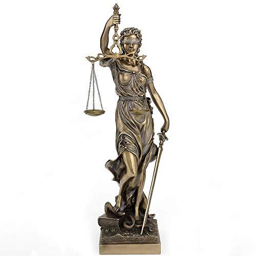 qwqqaq con Los Ojos Vendados Lady Justice Estatua, Romano Diosa del Derecho Escultura Resina Museo De-Grado Colección para El Bufete De Abogados Abogado Regalo-d 12x11x47cm(5x4x19inch)