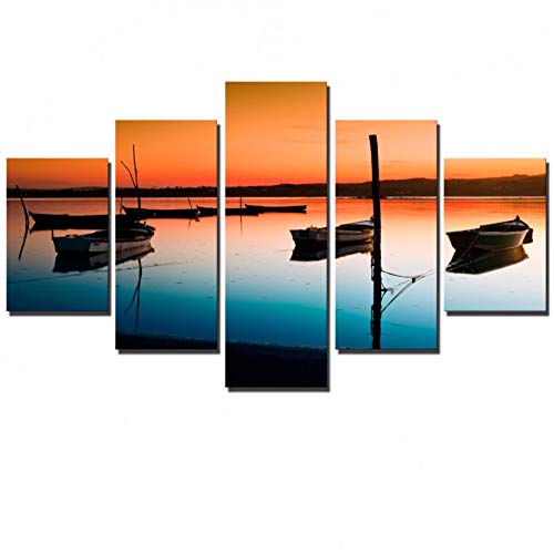 GHTAWXJ 5 Panelen Zonsondergang Canvas Schilderijen Muur Boten Zeegezicht Foto's Warm Kleur Posters En Prints Home Decor