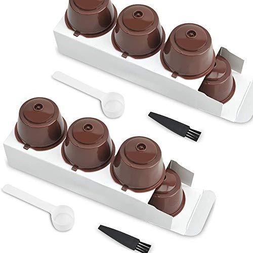 6 piezas Cápsulas Filtros de Café con Cuchara y Cepillo, Coffee Capsule Cup Reemplazo de Kit de Filtro Recargable Reutilizable no tóxico de plástico para Oficina en casa