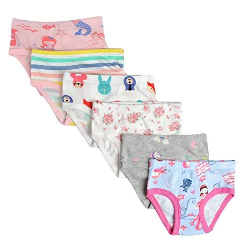 Kidear Unterwäsche für Kinder, weiche Baumwolle, für Mädchen, verschiedene Muster, 6er-Packung Gr. 3-4 Jahre/Etikettgröße- 110, Stil 13