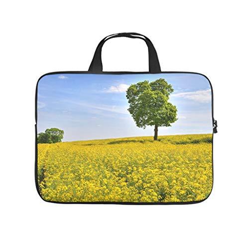 Landscape Yellow Flowers Field Farm Double Sided Printed Laptop Sleeve Case Soft Neoprene Laptop Bag Sleeve Case for Woman Husband