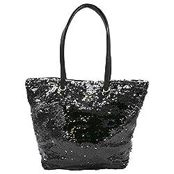 Black Lightweight Sequin Tote Bag