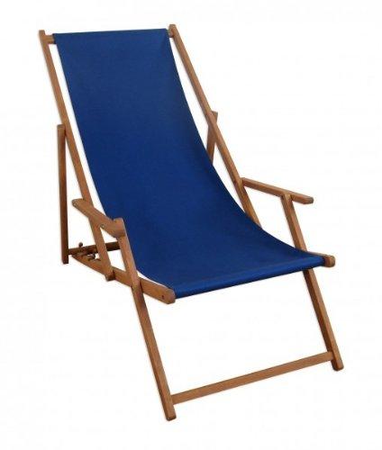 Liegestuhl blau Sonnenliege Gartenliege Holz Deckchair Strandstuhl Massivholz Gartenmöbel 10-307