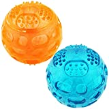 Squeaky Balls for Dogs, Fetch Dog Toy, Dog Squeak Chew Balls, Dog Ball with Squeaker, Durable Dog Bouncy Rubber Ball-2 Pack 3.2 Inch