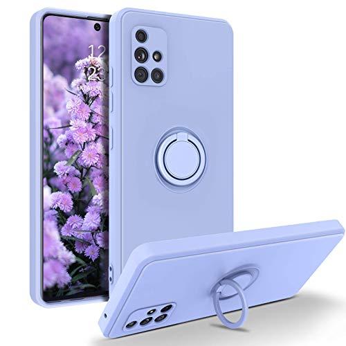 YINLAI Samsung Galaxy A71 Hülle Silikon, Handyhülle Samsung A71 mit 360 Grad Ring Ständer Weiche rutschfeste Fallschutz Kratzfest Premium Flüssig Silikon Schutzhülle für Samsung A71,Violett/Lila