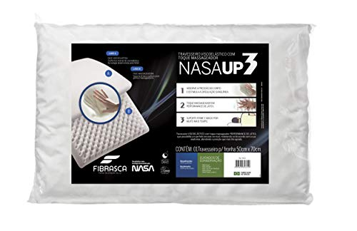 Travesseiro Nasa Up 3 para Fronhas, Revestimento 100% Poliéster, Branco, Fibrasca
