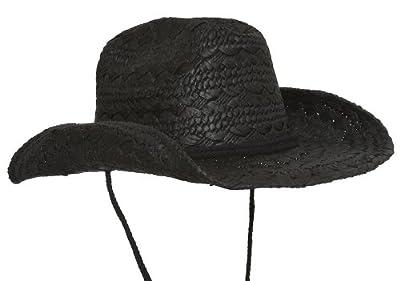 TOP HEADWEAR Ladies Toyo Western Cowboy Hat w/Strap - Black