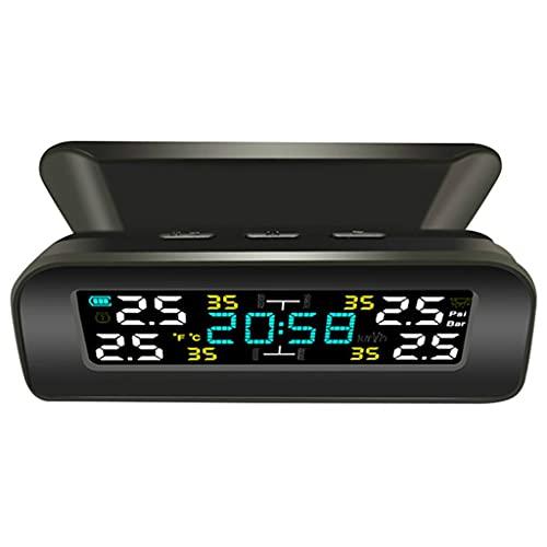 SLATIOM Monitoreo del Sistema de Alarma de Temperatura de la Temperatura del neumático Sistema de monitoreo de presión de neumáticos para neumáticos de automóviles Solar con Reloj con Reloj
