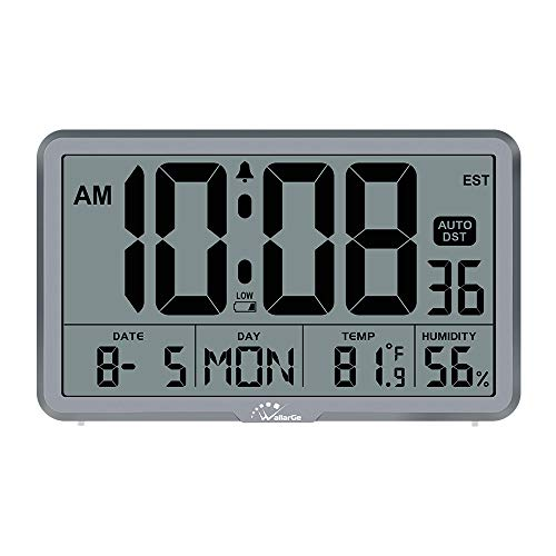 WallarGe Digital Wall Clock, Autoset Desk Alarm Clocks with Temperature, Humidity and Date, Battery Operated Digital Wall Clock Large Display, 8 Time Zone, Auto DST. (Grey)