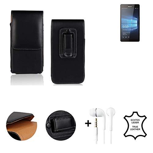 K-S-Trade® Leder Gürtel Tasche + Kopfhörer Für Microsoft Lumia 950 XL Dual SIM Seitentasche Belt Pouch Holster Handy-Hülle Gürteltasche Schutz-Hülle Etui Schwarz 1x