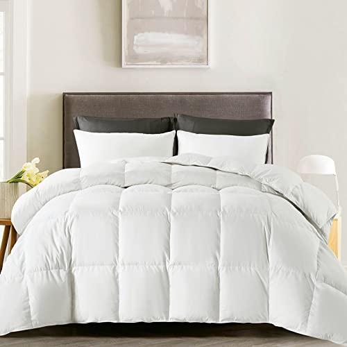 WhatsBedding Cotton Comforter Full with Corner Tabs White Medium Warmth All Season Duvet Insert or Stand-Alone Comforter Twin