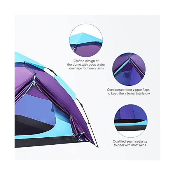 Sable Pop Up Beach Tent Purple, Sun Shelter 2 3 Man Tent for Kids Adults Windproof Waterproof and Quick Set-up, with Carry Bag for Outdoor Garden, Camping, Fishing, Picnic 7