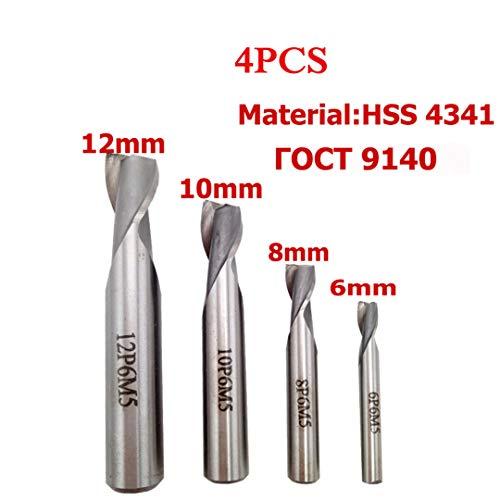 4 Stück 2 Flöten HSS Schaftfräser Fräser Set CNC Keyway Fräser für Holz Cutter Metallfräser Messer Bohrer Werkzeug