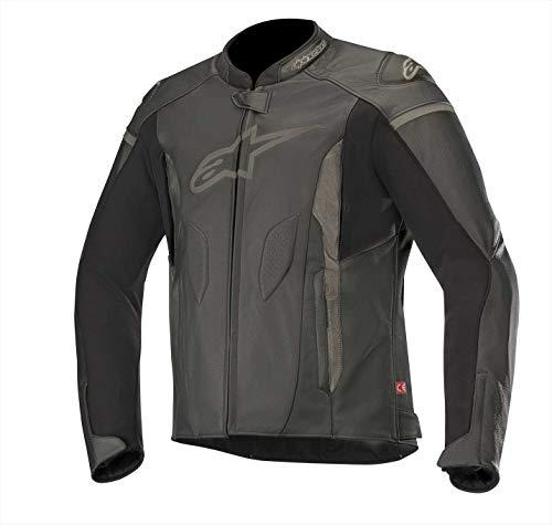 Alpinestars Motorradjacken Faster Leather Jacket Black Black, Schwarz/Schwarz, 52