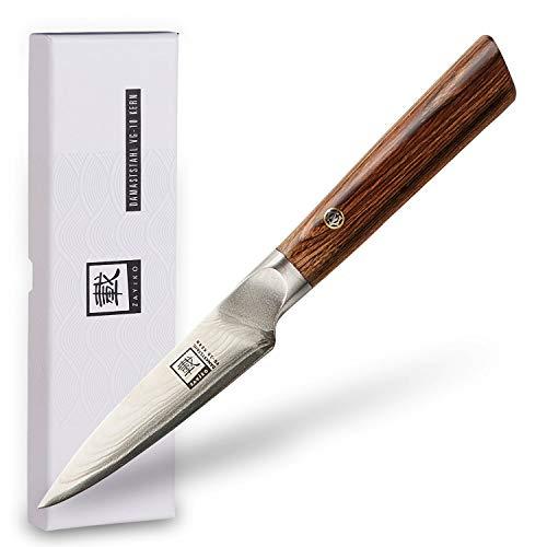 zayiko Damastmesser Officemesser, Klinge 8,70 cm Länge, japanischer Damaststahl VG-10, sehr hochwertiges Damast-Küchenmesser mit Pakkaholzgriff braun Kasshoku Serie #SAN