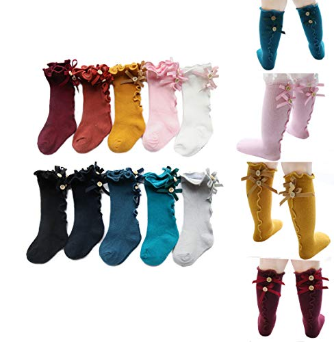 Colorful Childhood Baby Girls Knee High Socks Toddlers Tube Ruffled Bow Stockings Infant Newborn Cotton Princess Frilly Socks 5 Colors 12-24 Months