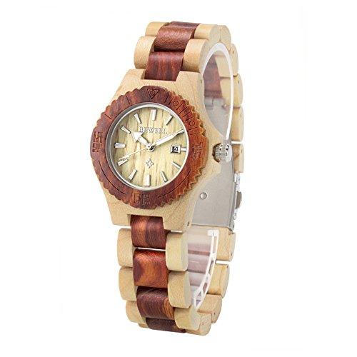 BEWELL Damen Armbanduhr Analoge Japanische Bewegung Sandelholz Armband und Kalender 020AL