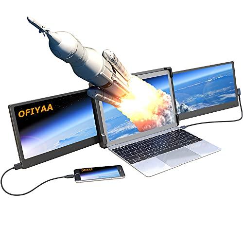 """OFIYAA P2 12'' Moniteur Portable Ecran Ordinateur 1080P FHD IPS USB-A/Type-C/HDMI Plug & Play 4 Haut-Parleurs Ecran Portable pour Plusieurs Laptop Compatible avec 13""""-16.5"""" Mac PC"""