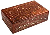 Amaze Shoppee Wooden Jewelry Box for Women/Modern Floral Design/Handmade Wood knick-knack Treasure Memory Box for Rings Necklace Bracelets Watches Earrings
