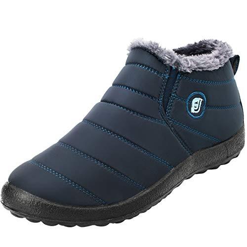 L-Run Winter wasserdichte Stiefeletten mit Fell gefüttert Slip On Sneaker für Damen Navy