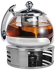 Gravidus Szklany dzbanek do herbaty z sitkiem i podgrzewaczem - 1,2 litra - zaparzacz do herbaty i podgrzewacz herbaty - dzbanek do herbaty z podgrzewaczem - zestaw do herbaty