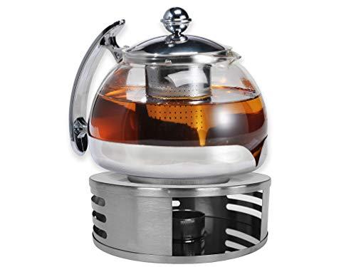 Gravidus Teekanne Glas mit Siebeinsatz und Stövchen - 1,2 Liter - Teebereiter & Teewärmer - Teekanne mit Stövchen - Tee Set