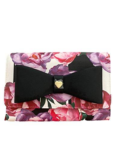 Betsey Johnson Dani Umhängetasche mit Blumenmuster und Schleife, Schwarz (black floral), Einheitsgröße