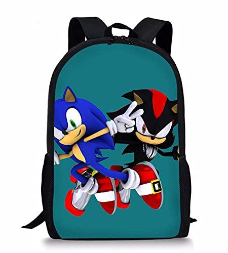 Mochila Sonic Cartoon Boys Mochilas Escolares 3D Sonic Shadow Print Grande para Adolescentes Mochila Escolar Niños Estudiante Bolsa de lápiz Set